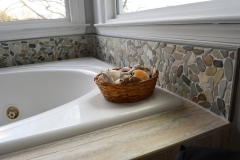 Tub view with pebbles